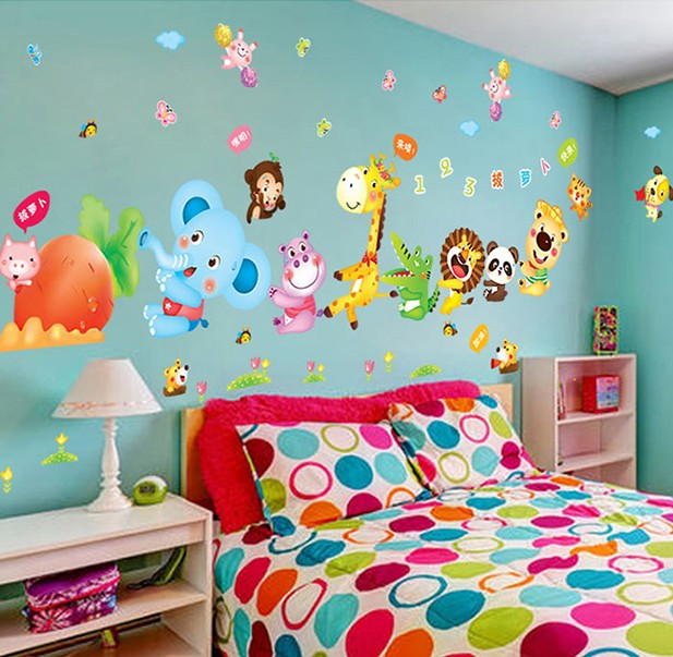 Animal Cartoon Vinyl Wall Stickers For Kids Rooms Home Decor Diy Child Wallpaper Art Decals 3d