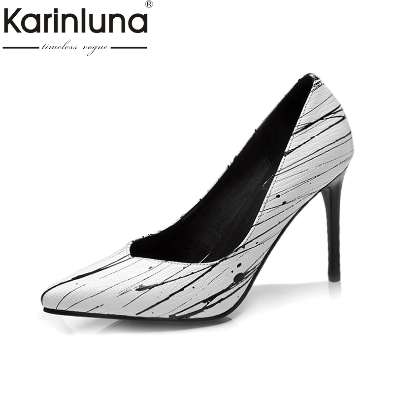 KARINLUNA Geuine Leather Plus Size 34-42 Women Pumps Thin High Heels Pointed Toe Office Ladies Shoes Woman 2018 Party Dating comfy women pointed toe square high heels office shoes woman flock ladies pumps plus size 34 40 black grey high quality