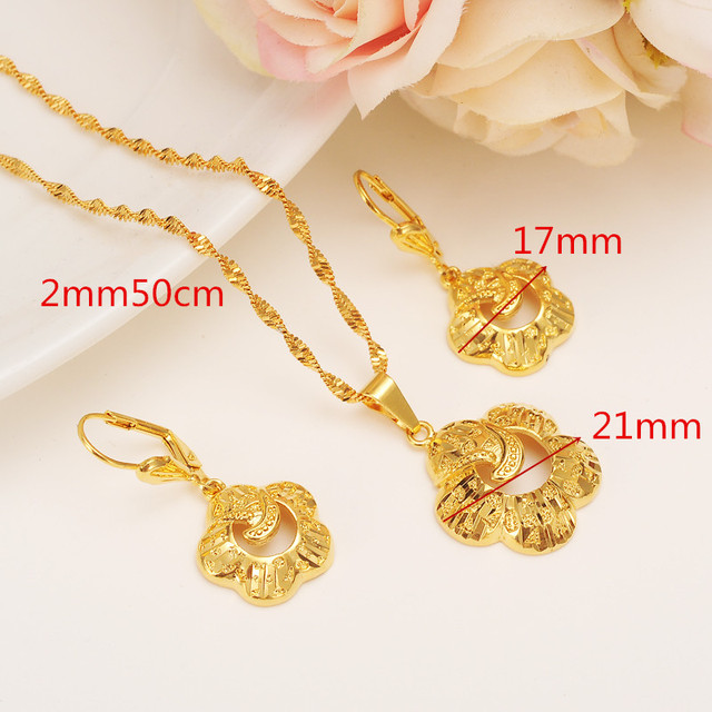 New Specific Character Vogue Necklace Pendant Earrings Jewelry Set Ethiopian Party Gift 14 K Solid Fine Gold Filled Fashion