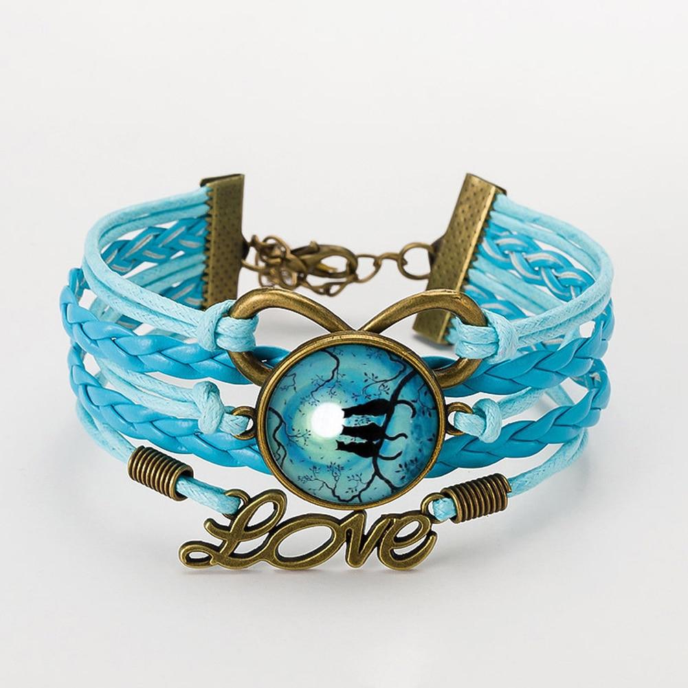 font b Watch b font Moon Black Cat Glass Cabochon Pendant Bracelet Jewelry Suede Leather