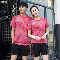 ZMSM 2018 Men & women Tennis Shirts Set Badminton Shirt Shorts Table Tennis Jersey Football Running Breathable Sportswear Y106