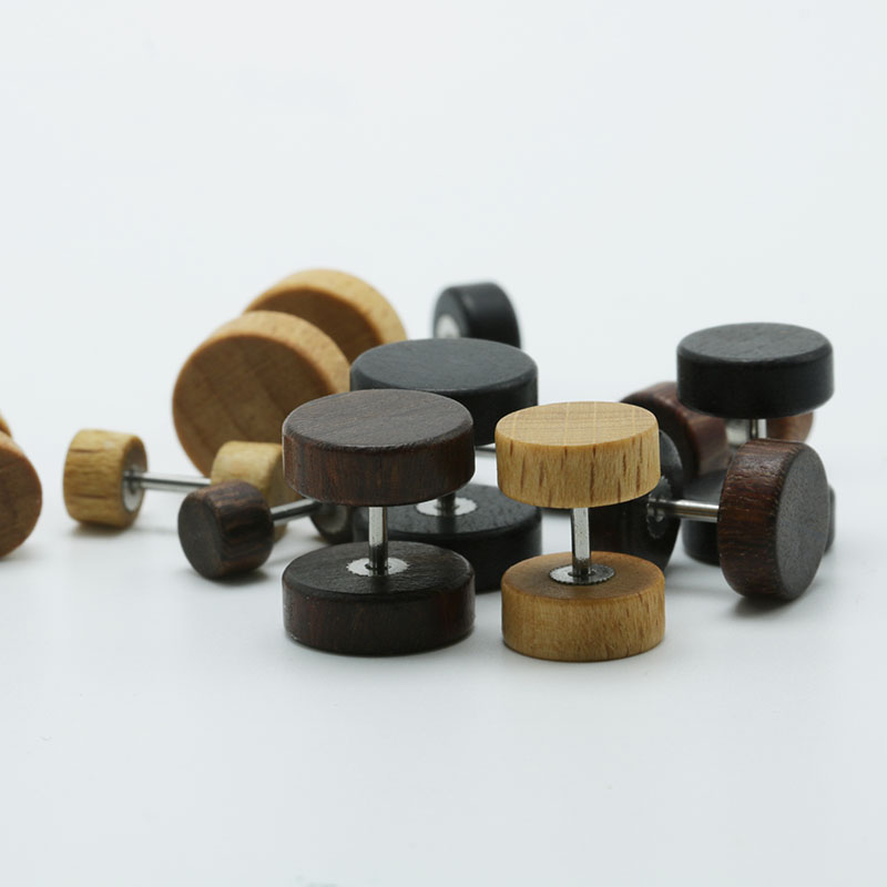 1pair Fashion Wooden Ear Studs Earrings Natural Brown Black 6mm 8mm 10mm 12mm Punk Barbell Fake Ear Plugs Brincos For Men Women4