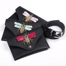 Waist  Women bag Fashion Packs Belt Bag Dragonfly Leather Chest Handbag Fanny Pack Bum