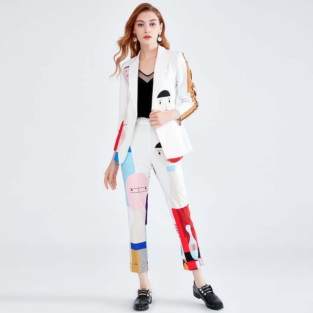 New 2019 Spring Summer Designer Set Suits Women High Quality Long Sleeve Sweet Cartoon Printing Blazer Tops + Pencil Pants Suit