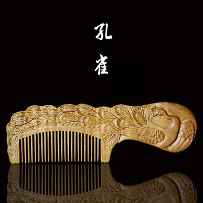 Professional Health Care Comb Anti-static Massage Green Sandalwood Comb Handmade Peacock Hair Brush Wedding/ Birthday Gift feixiang 3pcshigh quality natural green sandalwood wild boar mane comb hair brush green sandalwood comb sp massage head brush d5