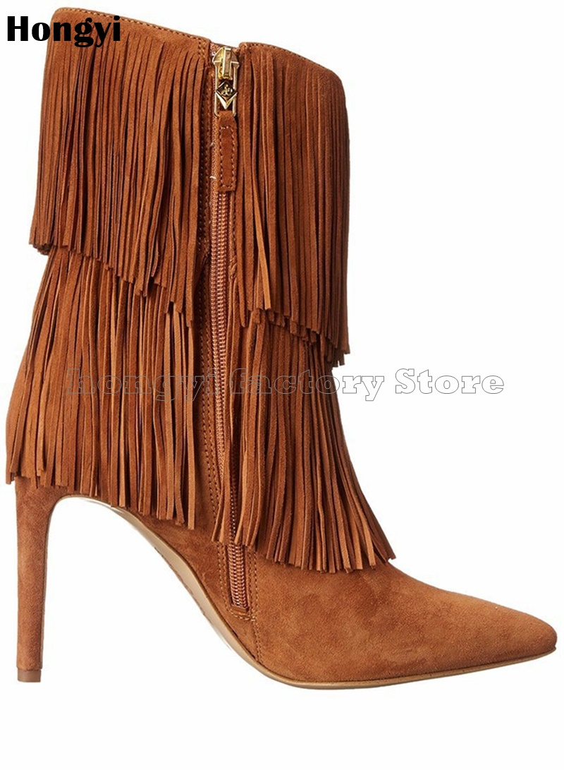 Fashion Winer Brown Suede Leather Inside Zipper Fringed Thin High Heeled Boots Women Pointed Toe Mid-calf Boot Gladiator Shoes цена