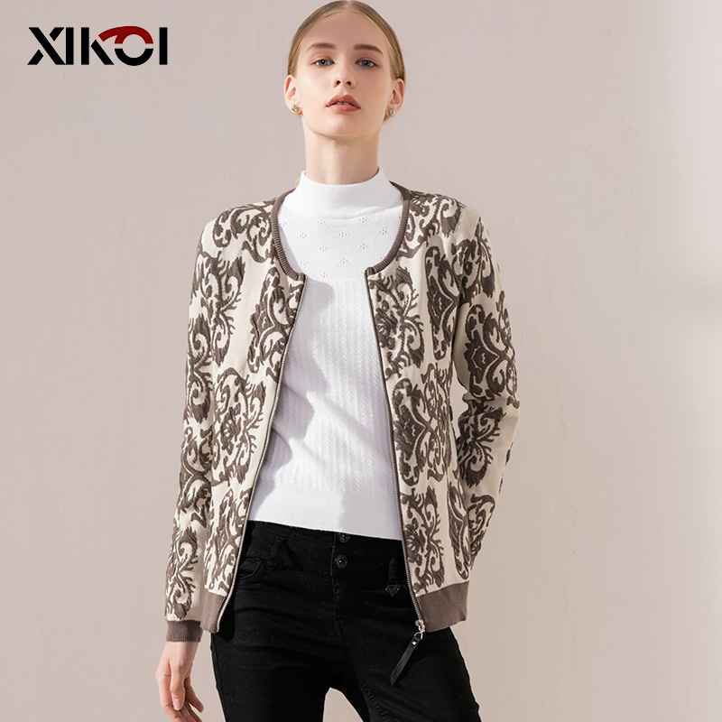 XIKOI 2018 New Spring Casual Women Jacket Cardigan Zipper Coats Print O-Neck Female Sweater Casual Woman Sweater Long Sleeve