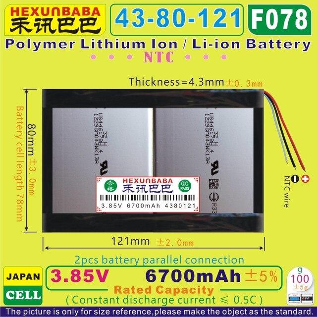 [F078] 3.85 V, 3.8 V, 3.7 V 6700 mAh [4380121] NTC; 3 dây; Polymer Li-Ion pin cho MÁY TÍNH XÁCH TAY; E-BOOK; tablet pc, netbook,; sony di động