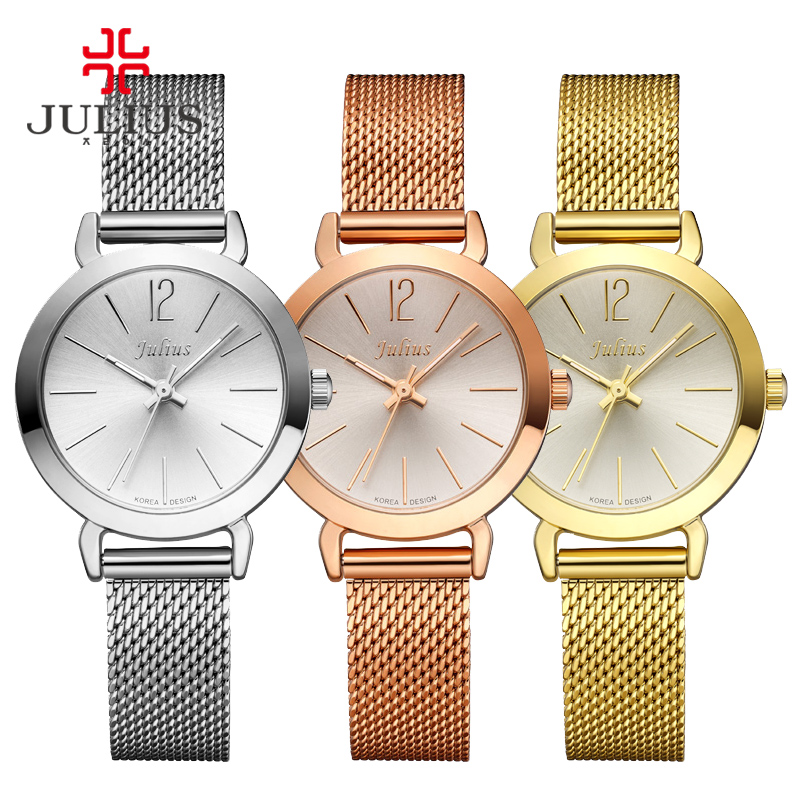 JULIUS Female Women Silver Rose Gold Tone Mesh Stainless Steel Quartz Analog Waterproof Fashion Watch Casual Wristwatch JA-732