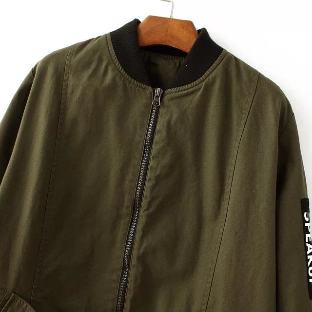 2018 New Autumn fashion cool long basic bomber jacket Women Army Green print jacket coat Padded zipper chaquetas biker outwear