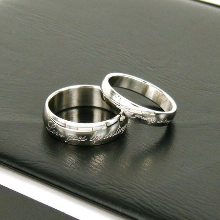 Wholesale best selling New Guaranteed 100% Stainless Steel A pair Lovers engrave Doomed love Ring + free shipping