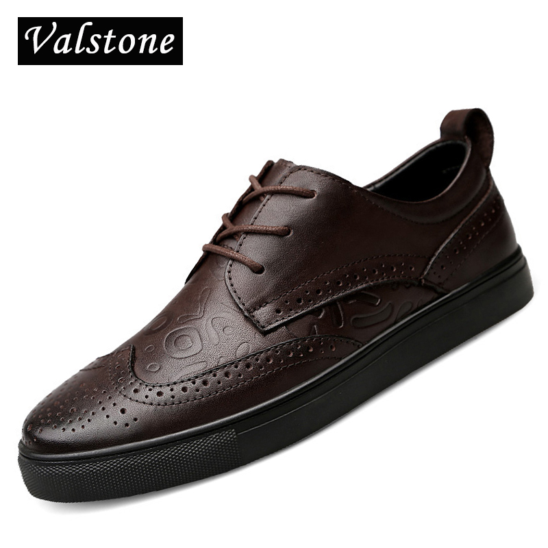 Valstone Genuine leather shoes men 2018 Spring brogues luxury high end leather sneakers zapatillas hombres casual