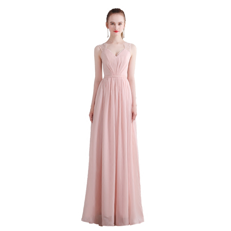 Beauty-Emily Pink Chiffon A-Line   Bridesmaid     Dresses   2019 Backless Off the Shoulder Homecoming Party Prom   Dresses