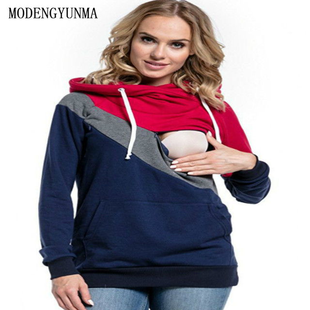 MODENGYUNMA Maternity Clothes Fashion Lactation Maternity Dresses Spring And Autumn Season Long Sleeve Lactation Hoodie Vestidos