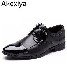 Akexiya Primavera Otoño Hombres Zapatos de Vestir de Cuero de Moda Británica Casual Hombre Plana Zapato de La Boda de Negocios de Gran Tamaño de Las Ventas Calientes