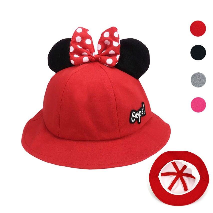 15653fdd4c08b Girls Boys Child Hat Bucket Hat Kids Outdoor Fisherman Cap Cute Cartoon  Mickey Ear Cap Cotton Spring Sun Protective Beach Cap