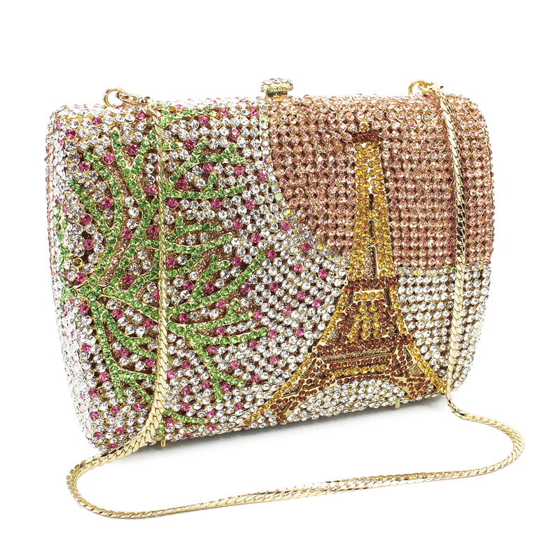 Handcrafted inlay crystal evening bag Eiffel Tower pattern Clutch bag Luxury diamond evening bag chain purse(81770A-G) high quality butterfly decor eiffel tower pattern removeable wall stickers