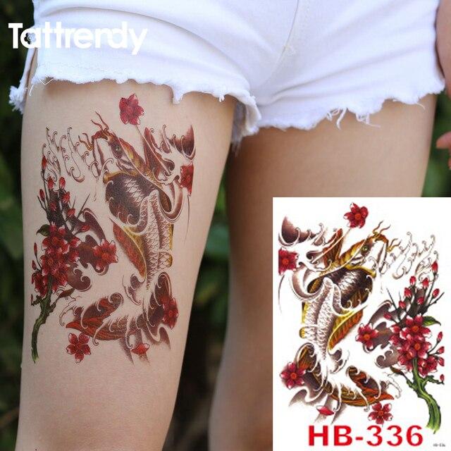 Newtemporary Tatuaje Carpa Chapoteo Grande Flor De Loto Tatuaje Para