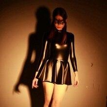 Сексуальное кожаное платье для косплея на Хэллоуин, студенческое мини-платье с оборками, женское латексное черное платье с длинным рукавом для ночного клуба, Платья для вечеринок