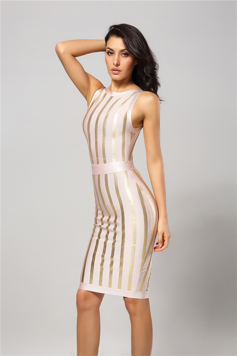 8287f1f7d8a11 Leger Babe New Arrival O Neck Sleeveless Golden Foil Printing Striped Back  Split Elegant Club Party Sexy Women Bandage Dress HL