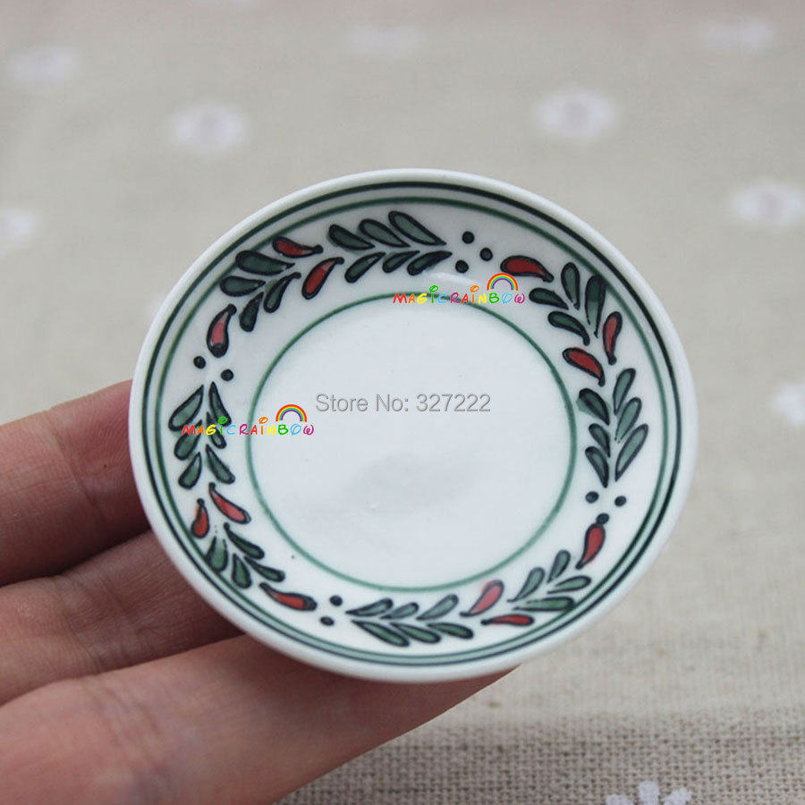 Porcelain Green Leaves Dishes Multi-purpose Round Tray Fruit Bowl Dessert Plate Ceramic Kitchen Toys 1:6 Dollhouse Miniatures