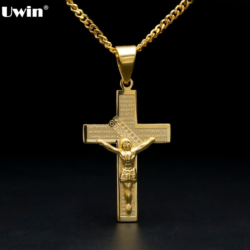 US $8 34 20% OFF Men's Hiphop Stainless Steel Gold Color Bible Scriptures  Cross Jesus Christ Crucifixion Pendant with Cuban Chain Prayer Jewelry-in