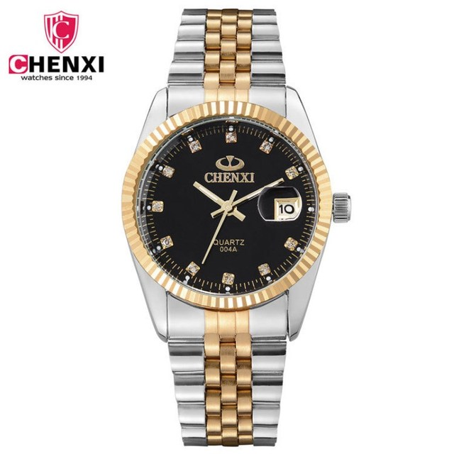 NATATE Men Business Fashion Brand CHENXI Men Watch Intermetallic gold Stainless Steel Quartz Wrist Watch Waterproof Watch 0140