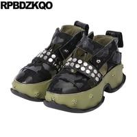 Криперы обувь на платформе открытые сандалии в виде маффинов заклепки зеленый кроссовки harajuku толстая подошва шпилька Европейский Женские