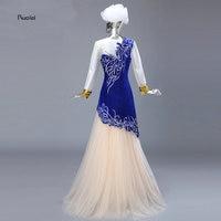 Реальное изображение Royal Blue мусульманская вечернее платье Линия Бисер золотыми блестками Вышивка Тюль Арабский платье для выпускного вече