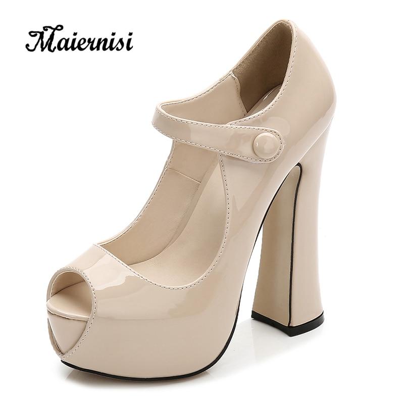 MAIERNISI Leather Women Pumps High Heels Platform Shoes Open Toe Female Party Shoes Elegant Ladies Pumps