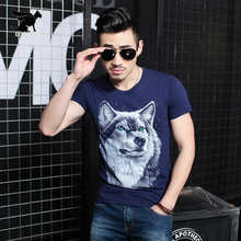 2017 Brand Clothing Hip hop street Mens T Shirts Wolf male Short Sleeve t shirt fashion Streatwear t-shirt casual O-neck Tees