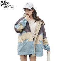 UHYTGF Autumn Jacket Women Zipper Outerwear Basic Coats Bomber Jacket 2019 Fashion Ladies Coat Oversize Jacket Korean splice 346