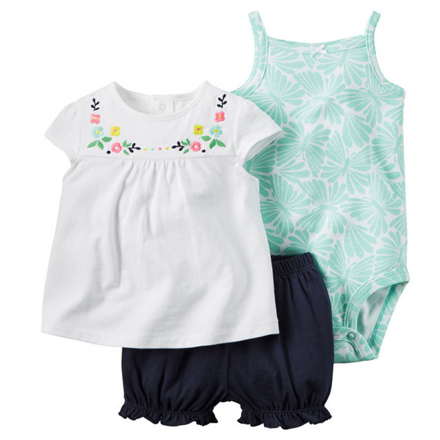 Baby Sets 2016 Summer New Style Retail Clothing Set Girls Bodysuits+Short+T-shirt 3pcs Undershirt Shorts Kids Clothes Sets V20