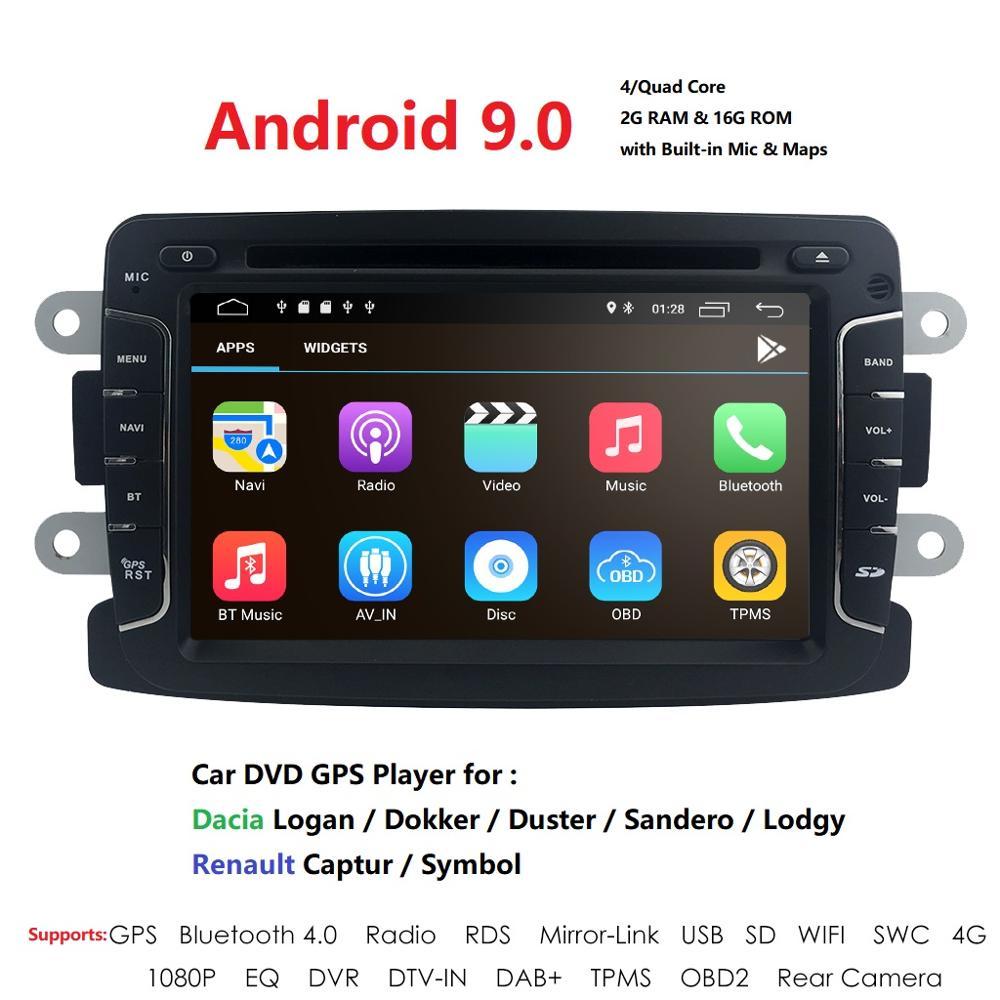 Android9.0 1DIN Car DVD For RENAULT DUSTER LOGAN LADA XRAY SYMBOL DACIA Kaptur DOKKER DVD Car GPS Multimedia SWC DVR RDS DTV MAP