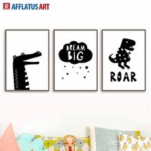 AFFLATUS Black White Crocodile Dinosaur Nordic Poster Wall Art Canvas Painting Posters And Prints Pictures Kids Room Decor