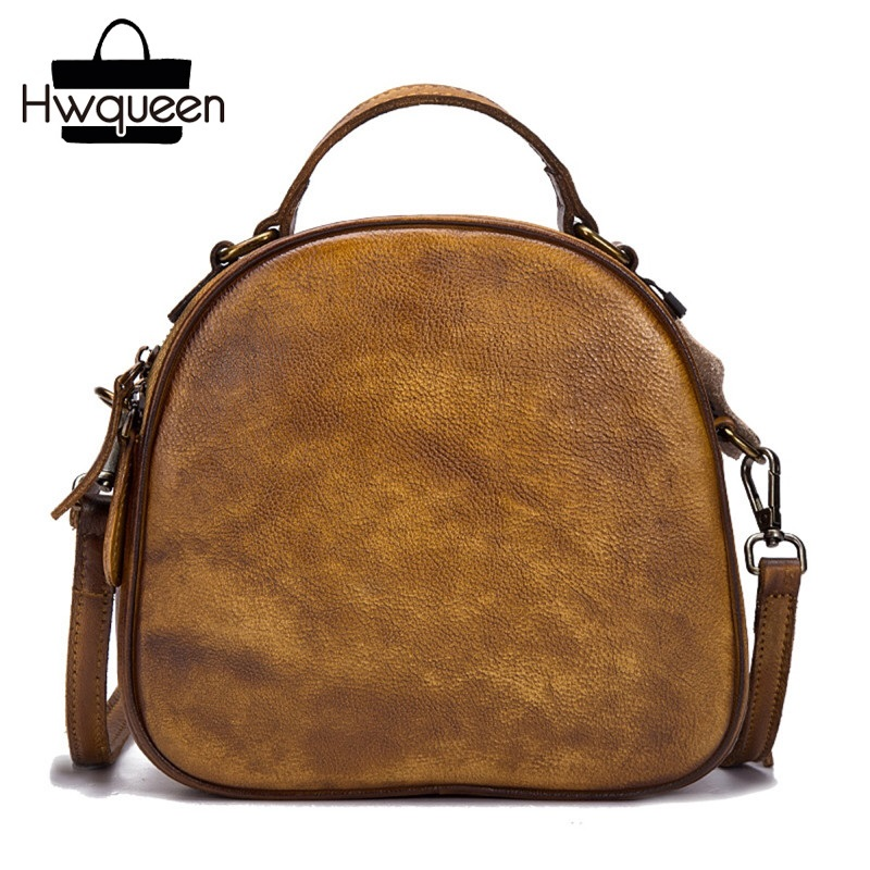 Vintage Designer Genuine Leather Women Small Crossbody Bag Retro Cowhide Lady Single Shoulder Bag Zipper Closure Female Handbag magnetic closure animal dolls pompon crossbody bag