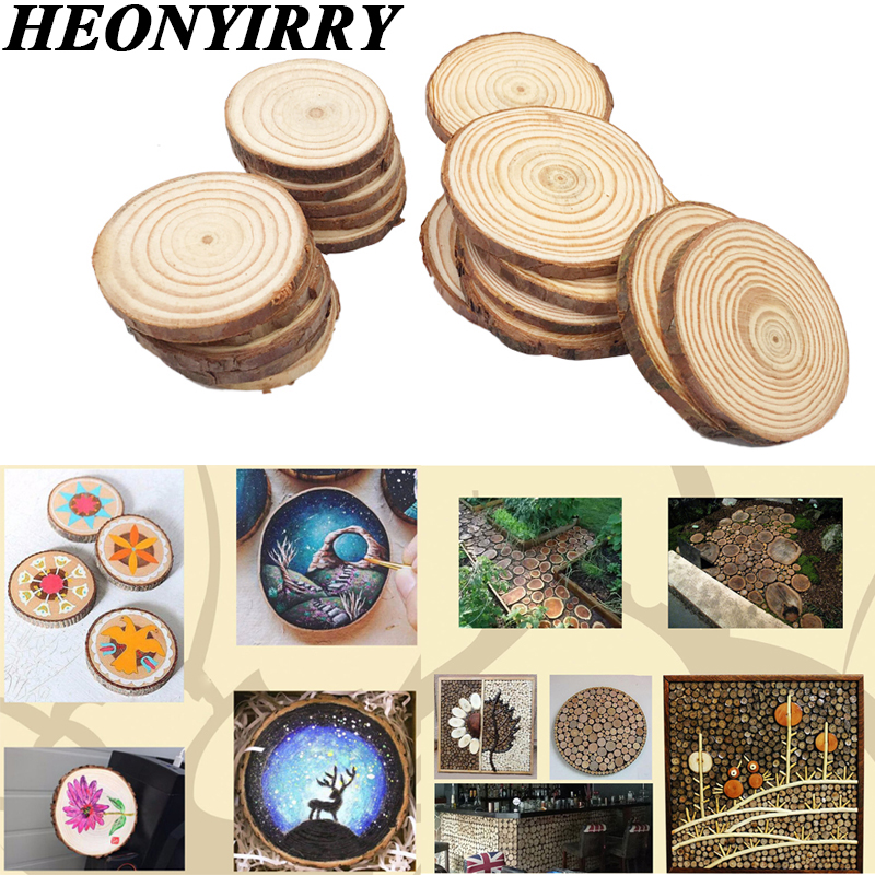 10pcs Wood Slices DIY Wooden Craft Decorations Birthday Party Kids Table Number Cards Wedding Decoration Unfinished Wood Gift