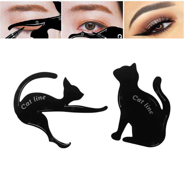 2Pairs Template Cat Eye Fish Tail Double Wing Eyeliner Stencil Eye Liner Models Eyebrows Card Shaper DIY Beauty Makeup Tools 1