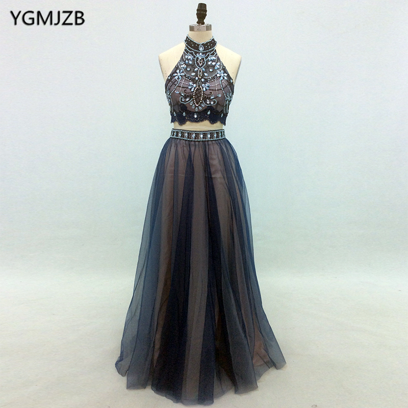 Abendkleide 2018 Two Piece   Prom     Dress   A line High Neck Beaded Crystal Open Back Elegant African Women Formal Party Evening Gown