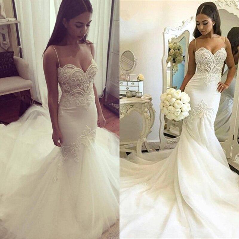 DZW222 Sexy Mermaid Wedding Dress 2019 spaghetti straps White Tulle Beaded Lace Pearls Women Mermaid  Wedding Gown