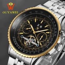 NEWEST OUYAWEI GOLD Mechanical Watch For MenTop Brand Luxury  Leather Skeleton Men Reloj Hombre