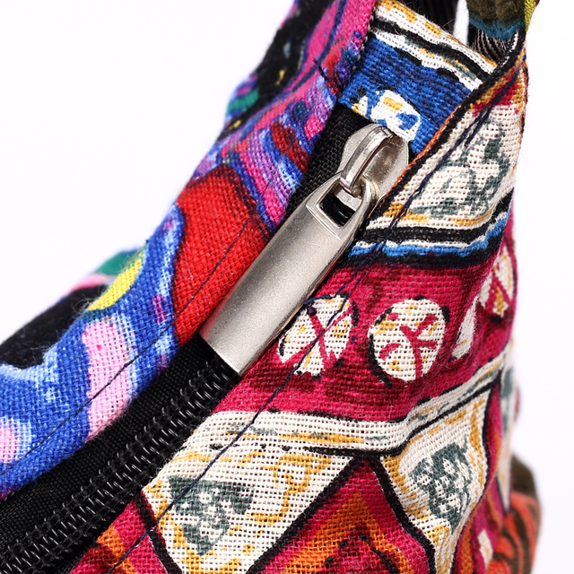 Women Sling Shoulder Bag Cotton Fabric Handbags Hippie Patchwork Hippie Bag Large Messenger Bag Floral Hobo Bag 5