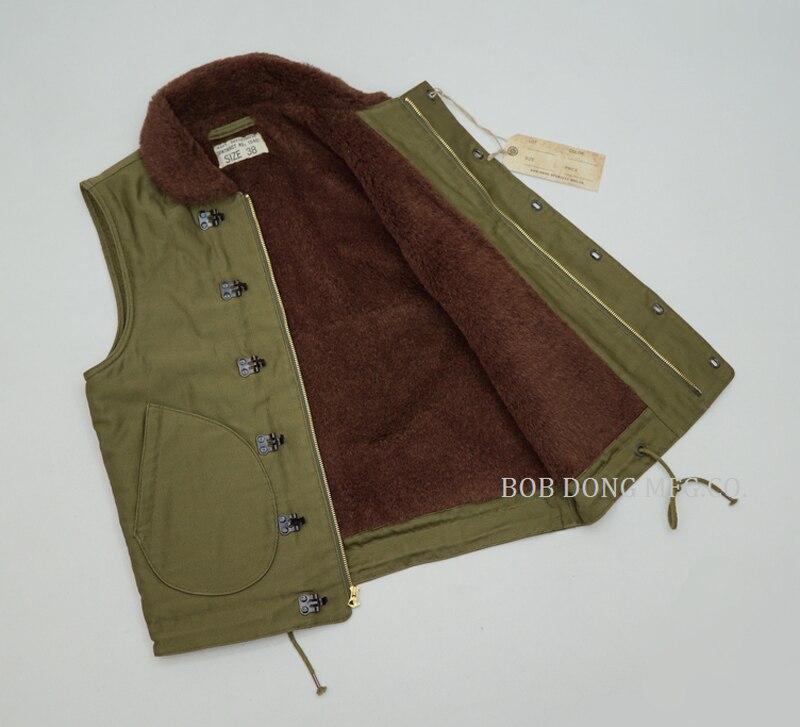 Bob Dong US Navy N-1D Vest Vintage Men/'s Military V-Neck Jacket Biker Waistcoat