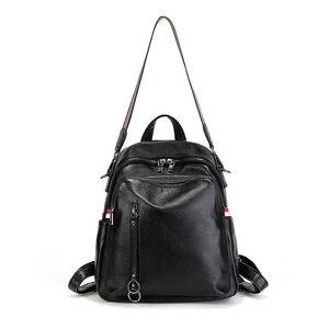 Image 4 - Nesitu yeni moda siyah mavi kırmızı hakiki deri kadın sırt çantaları kadın kız sırt çantası bayan seyahat çantası omuz çantaları # M88039