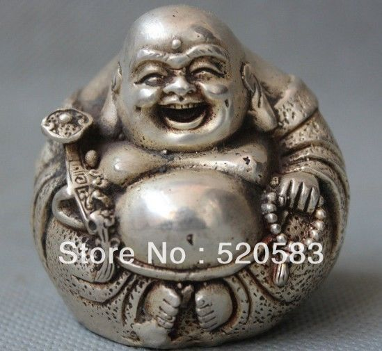 free Lucky China Chinese Bronze Silver Happy Laugh Buddha Hold Ruyi Statue Figurine fast|figurine|figurine statue|figurines bronze - title=