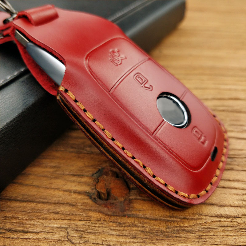 Handmade Leather Car Key Case Cover Bag Shell for Mercedes Benz C Class W205 C200 C180