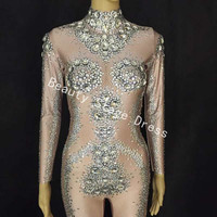 Nude Sparkly Stones Perspective Mesh Bodysuit Long Sleeves Stretch Brown Jumpsuit Party Celebrate Costume Rhinestones Leggings