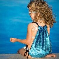 Novas Mulheres Lantejoulas Glittering Bling Bling Cor Dupla Face Saco Daypacks Para Praia Da Sereia Lantejoulas Saco De Cordão Mochilas