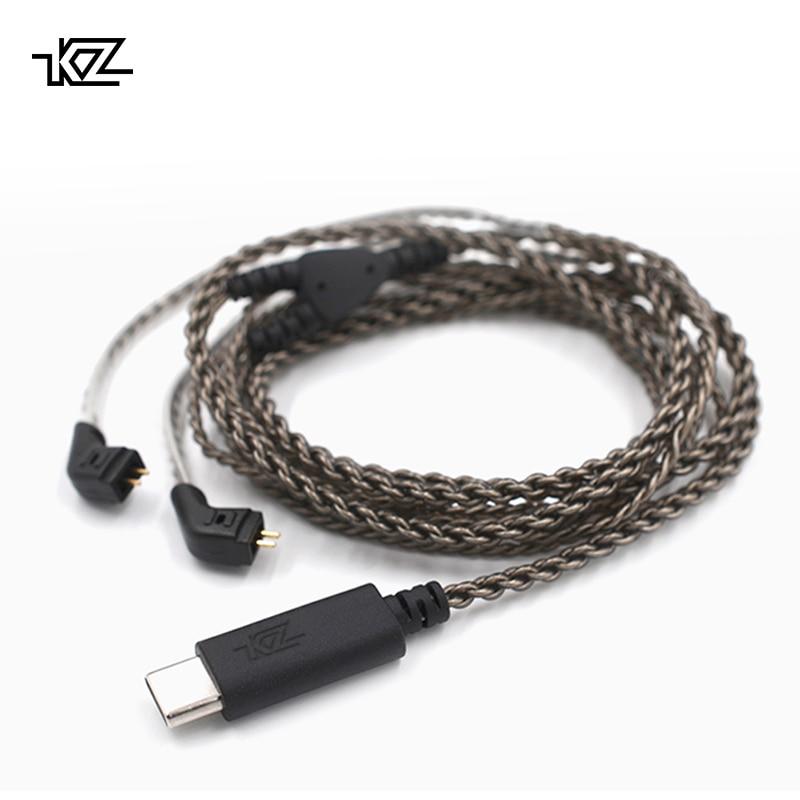 KZ USB Typ C Kabel Digitale Dekodierung Silber Überzogene OFC Upgrade Kabel 0,75mm Stecker Für KZ Kopfhörer ZST/ ZSR/ED16/ES4/ZS10/ZS6