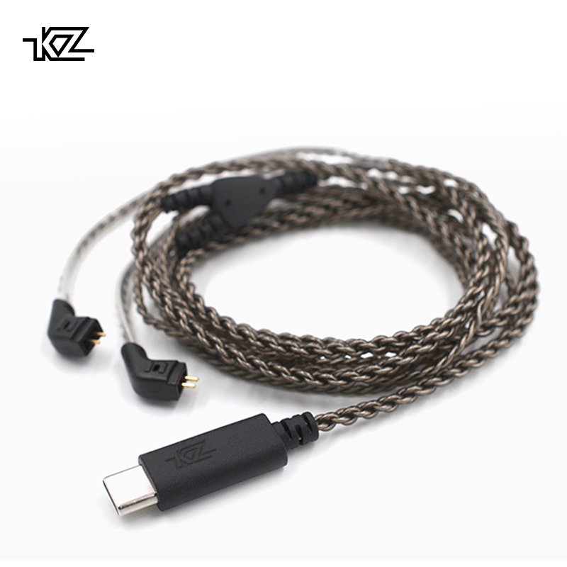 KZ USB Type C Cable Digital Decoding Silver Plated OFC Upgrade Cable 0.75mm Connector For KZ Earphones ZST/ZSR/ED16/ES4/ZS10/ZS6